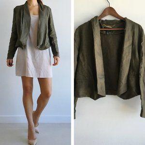MNG by MANGO Army Green Linen Lightweight Blazer